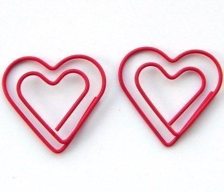 2011年 10月11日 18:36 可爱卡片装6枚红色双心形书签回形针