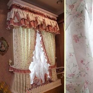 田园风格粉色碎花公主窗帘/窗纱/客厅/卧室飘窗定做