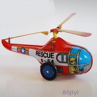怀旧童年铁皮发条玩具直升飞机