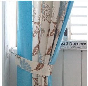 橄榄树穿孔式窗帘/蓝色组合窗帘