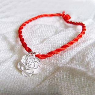 圆红绳手链玫瑰花编法