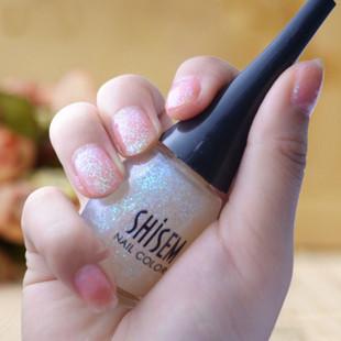 正品 韩国shisem尖瓶彩色指甲油 繁星点点透明亮粉 美甲工具67