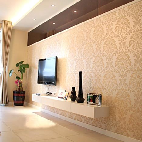 植绒壁纸 简约欧式大花77022客厅卧室墙纸