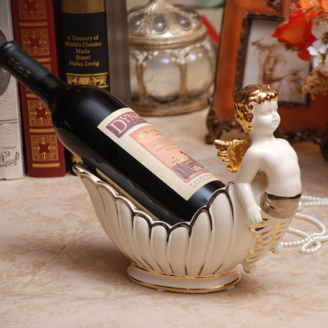 精美象牙瓷天使造型红酒架