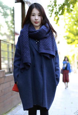 深蓝色针织茧形