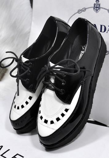 生鞋欧美复古尖头漆皮鞋