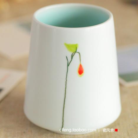 一枝独秀创意 陶瓷手工手绘 随手杯/陶艺杯/情侣杯 日式清新文艺