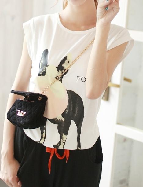 可爱2013夏新女装新款修身四不像小狗动物图案女圆领