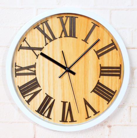 欧式复古田园 3d立体木头罗马数字挂钟