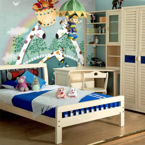 男孩女孩儿童房墙纸壁纸卧室床头