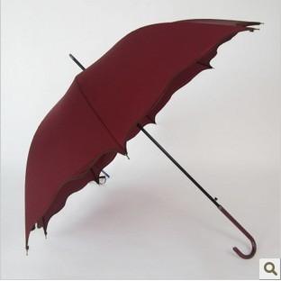 荷叶边/枣红色雨伞 韩国创意可爱公主长柄