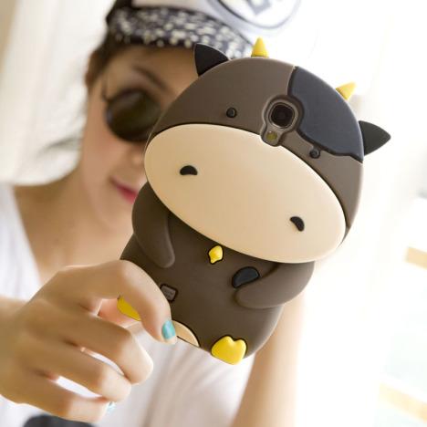 三星note2手机壳n7100保护套n7108可爱硅胶套插卡位小奶萌牛外壳