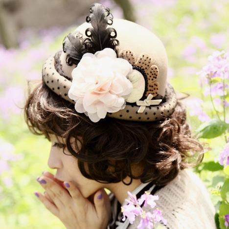 面纱女孩花朵手工贝雷帽礼帽婚纱饰品复古欧式华丽