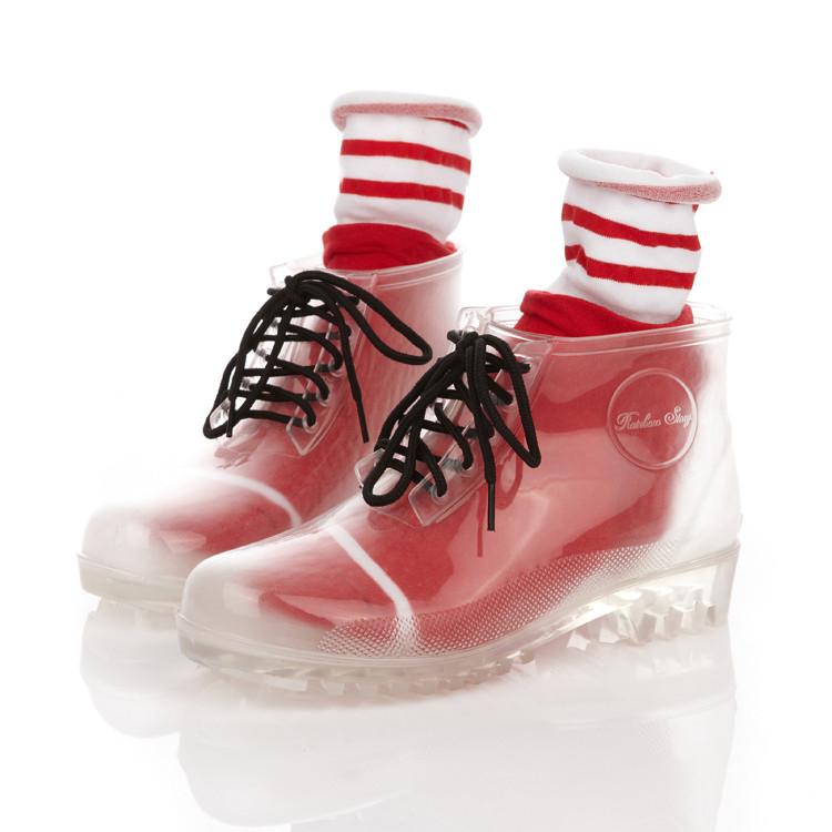 透明水晶厚底马丁靴雨鞋雨靴男女情侣款5双鞋带1双55