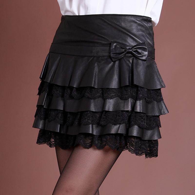 短裙皮裙子蕾丝花边蛋糕裙进口绵羊皮半身裙百褶女裙