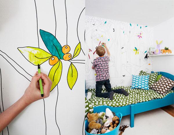 墙面的手绘图