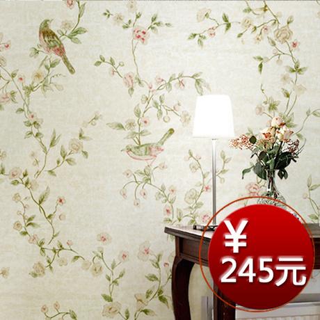 悦满宅 彩铅手绘田园墙纸 浪漫鸟语花香 客厅卧室背景