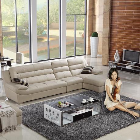 爆款真皮沙发 头层牛皮 左右转角客厅皮沙发组合 小户型 送清洁膏